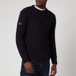 Superdry Men's Jacob Cable Crewneck Jumper - Downhill Navy