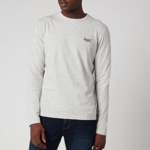 Superdry Men's Orange Label Embossed Long Sleeve T-Shirt - Silver Birch Feeder