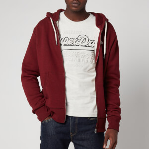 Superdry Men's Orange Label Classic Zip Hoodie - Rich Red Grit