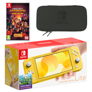 Nintendo Switch Lite (Yellow) Minecraft Dungeons - Hero Edition Pack