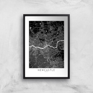 Negative Newcastle City Map Giclee Art Print