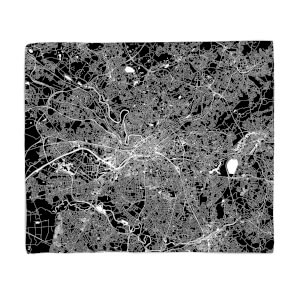 Negative Manchester City Map Fleece Blanket