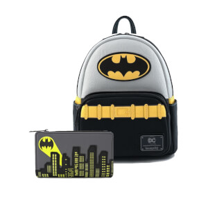 Loungefly Dc Comics Dc Comics Vintage Batman Cosplay Mini Backpack and Wallet Set