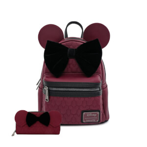 Loungefly Disney Mickey Mouse Faux Leather Mini Backpack and Wallet Set
