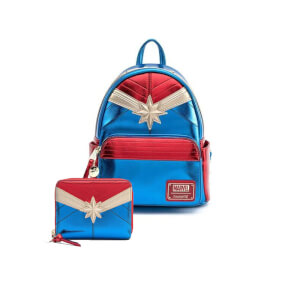 Loungefly Marvel Captain Marvel Classic Cosplay Mini Backpack and Wallet Set