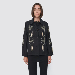 Our Legacy Women's Square Shirt - Black Leaf Embroidery