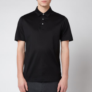 Canali Men's Cotton Jersey Short Sleeve Polo Shirt - Black