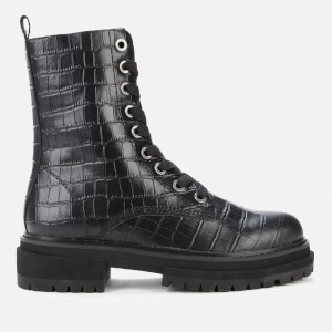 Kurt Geiger London Women's Siva Croc Print Leather Lace Up Boots - Black