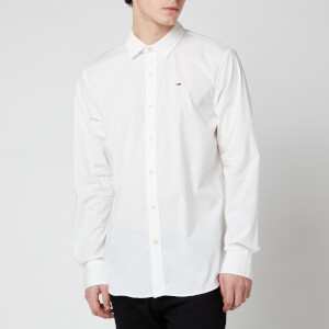 Tommy Jeans Men's Original Stretch Long Sleeve Shirt - Classic White