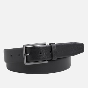 CK Jeans Men's Adjustable Bombed Saffiano Belt - Black