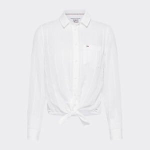 Tommy Jeans Women's Front Knot Shirt - White