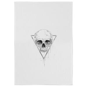 Skull In A Triangle Cotton Tea Towel - White