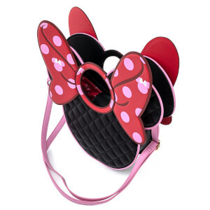 Loungefly Disney Minnie Mouse Quilted Bow Head Crossbody Bag