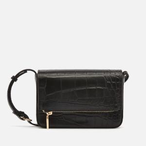 Whistles Women's Luca Croc Foldover Bag - Black