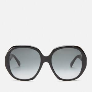 Bottega Veneta Women's Square Frame Sunglasses - Black/Gold/Grey