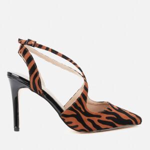 Dune Women's Chiya Microfibre Strappy Court Heels - Brown Leopard