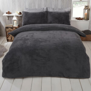 Charcoal Teddy Duvet Set