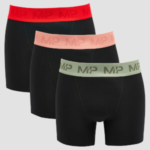 MP Men's Coloured Waistband Boxers (3 Pack) Black