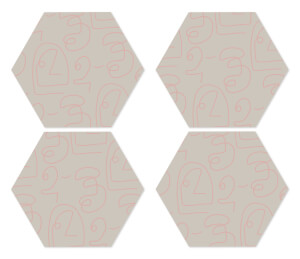 in homeware x Polly Sayer Faces Hexagonal Coaster Set