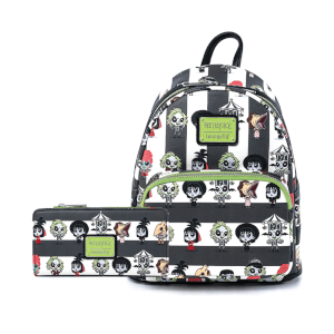 Loungefly Beetlejuice Group Chibi Aop Mini Backpack and Wallet Set