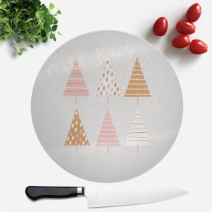 Pretty Christmas Trees Round Chopping Board