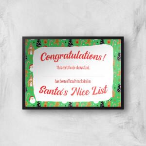 Santa Certificate Giclee Art Print