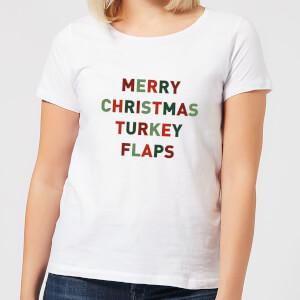 Merry Christmas Turkey Flaps Women's T-Shirt - White