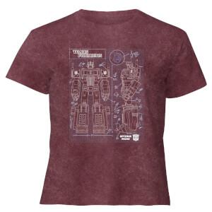 Transformers Optimus Prime Schematic - Women's Cropped T-Shirt - Burgundy Acid Wash