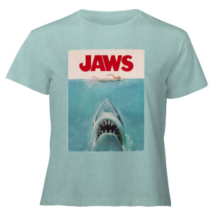 Jaws Classic Poster - Women's Cropped T-Shirt - Mint Acid Wash