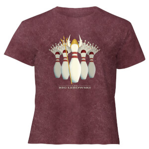 The Big Lebowski Pin Girls - Women's Cropped T-Shirt - Burgundy Acid Wash