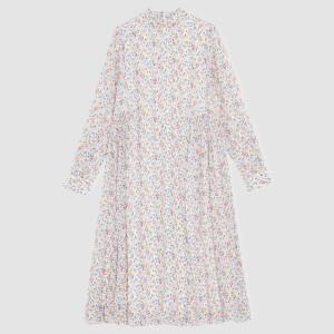 Ganni Women's Printed Georgette Midi Dress - Egret