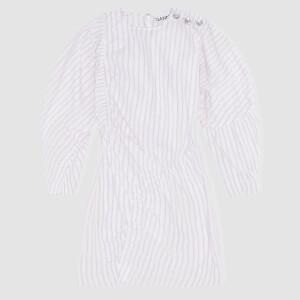 Ganni Women's Stripe Cotton Dress - White