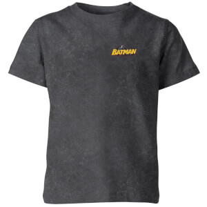 Batman Logo Pocket Kids' T-Shirt - Black Acid Wash