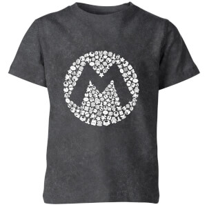 Nintendo Super Mario Logo Kids' T-Shirt - Black Acid Wash