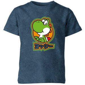 Nintendo Super Mario Yoshi Kids' T-Shirt - Navy Acid Wash