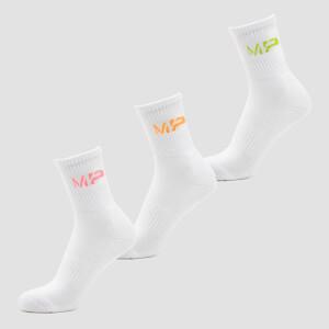 MP Men's Neon MP Logo Crew Socks (3 Pack) Orange/Lime/Rose