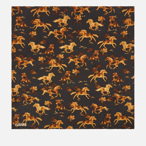 Ganni Women's Silk Horse Print Scarf - Black