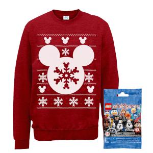 Disney Christmas Sweatshirt & Lego Minifigure Bundle