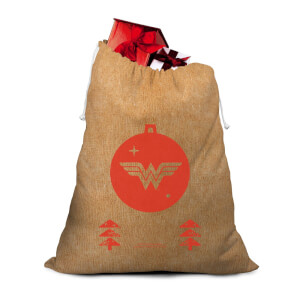 Wonder Woman Bauble Hessian Santa Sack