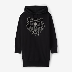 KENZO Women's Velvet Tiger Head Embroidered Hoodie Dress - Black
