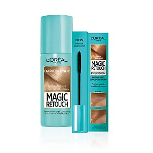 L'Oréal Paris Magic Retouch dark blonde 75ml & Precision Instant Grey Concealer Brush Set
