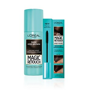 L'Oréal Paris Magic Retouch Dark Iced Brown 75ml & Precision Instant Grey Concealer Brush Set