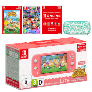 Nintendo Switch Lite (Coral) + Animal Crossing: New Horizons + Nintendo Switch Online (3 Months) + Mario Kart 8 Deluxe Pack