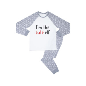 I'm The Cute Elf Kids' Patterned Pyjamas - White / Grey