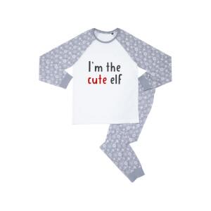 I'm The Cute Elf Kids' Patterned Pyjamas - White / Grey