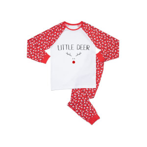 Little Deer Babies' Patterned Pyjamas - White / Navy