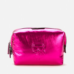 Karl Lagerfeld Women's K/Ikonik Nylon Washbag - Metallic Pink