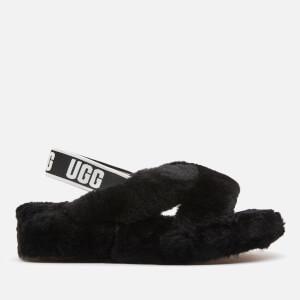 UGG Women's Fab Yeah Sheepskin Slippers - Black