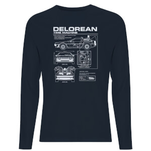 Back To The Future Delorian Schematic Unisex Long Sleeve T-Shirt - Navy