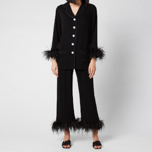 Sleeper Women's Party Pyjama Set with Double Feathers - Black